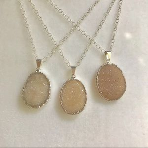 Sparkling Druzy and Sterling Silver Necklace